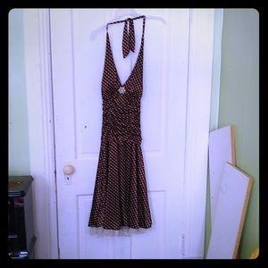 Ruby Rox Brown Polka Dot Halter A-Line Midi Dress